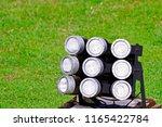 close up of led spotlights in... | Shutterstock . vector #1165422784