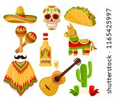 mexican holiday symbols set ... | Shutterstock .eps vector #1165425997