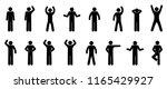 pictogram man  diverse poses... | Shutterstock .eps vector #1165429927