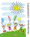 happy kids and balloons  funny... | Shutterstock .eps vector #1165430551