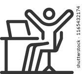 computer happy  bold line stick ... | Shutterstock .eps vector #1165432174