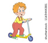 funny little boy on a scooter ... | Shutterstock . vector #1165444381