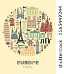 collection of europe detailed... | Shutterstock .eps vector #1165449244