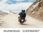 Motobike travelers ride in indian Himalaya roads