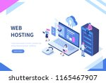 web hosting concept with...   Shutterstock . vector #1165467907