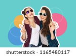 people  fashion and friendship... | Shutterstock . vector #1165480117