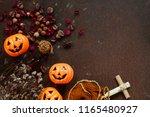 creative flat lay of halloween... | Shutterstock . vector #1165480927
