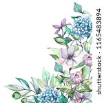 watercolor lilac flowers. hand...   Shutterstock . vector #1165483894