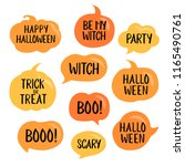 set of vector halloween speech... | Shutterstock .eps vector #1165490761