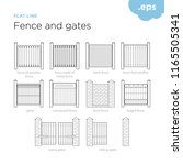 fence and gates   set fence and ... | Shutterstock .eps vector #1165505341