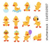 Cute Chicks. Cartoon Yellow...