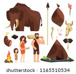 caveman. cartoon neolithic... | Shutterstock .eps vector #1165510534