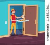 food delivery concept. cartoon... | Shutterstock .eps vector #1165510561
