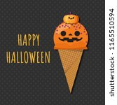 halloween ice cream  jack o... | Shutterstock .eps vector #1165510594