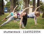 healthy flexible sportswomen...   Shutterstock . vector #1165523554