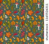 seamless pattern of leaves ... | Shutterstock .eps vector #1165526311