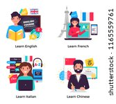 learning english french italian ... | Shutterstock .eps vector #1165559761