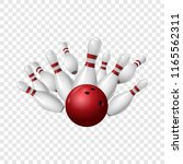 bowling strike icon. realistic... | Shutterstock . vector #1165562311