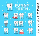 funny teeth icon set. dental... | Shutterstock .eps vector #1165580437