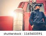 semi truck driving job.... | Shutterstock . vector #1165603591