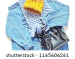 flat lay fashion outfit. blue... | Shutterstock . vector #1165606261
