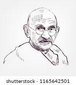 mahatma gandhi vector sketch... | Shutterstock .eps vector #1165642501