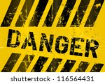 warning sign  worn and grungy ... | Shutterstock .eps vector #116564431