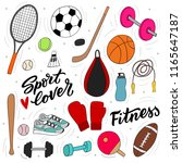 set of sport inventory for... | Shutterstock .eps vector #1165647187