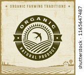 vintage organic natural product ... | Shutterstock . vector #1165647487