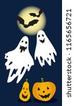 funny halloween ghosts with... | Shutterstock .eps vector #1165656721