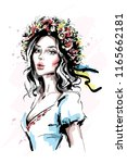 hand drawn beautiful young... | Shutterstock .eps vector #1165662181
