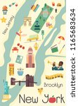 city map of new york with... | Shutterstock .eps vector #1165683634