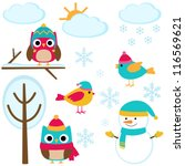 Cute Set Of Winter Elements