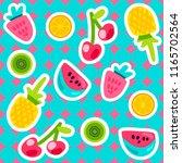 vector summer fruits patterns... | Shutterstock .eps vector #1165702564