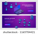 mining bitcoin and... | Shutterstock .eps vector #1165704421
