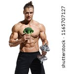 sporty man holding broccoli and ... | Shutterstock . vector #1165707127