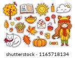 set of cute hand drawn autumn...   Shutterstock .eps vector #1165718134