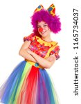 happy young clown girl on white ... | Shutterstock . vector #1165734037