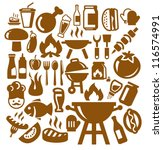 vector brown barbecue icons set ... | Shutterstock .eps vector #116574991