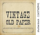 vintage fonts with old paper... | Shutterstock .eps vector #1165760941