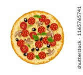 pizza isolated on white | Shutterstock .eps vector #1165765741