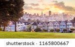 famous alamo square in san... | Shutterstock . vector #1165800667