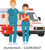male and female paramedic ready ... | Shutterstock .eps vector #1165830637
