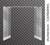 shop double open doors...   Shutterstock .eps vector #1165868401