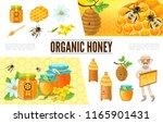 cartoon beekeeping composition... | Shutterstock .eps vector #1165901431