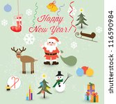 set of vector christmas icons... | Shutterstock .eps vector #116590984
