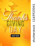 happy thanksgiving day. poster... | Shutterstock .eps vector #1165925041