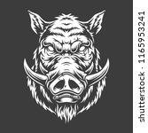 Boar Head In Black And White...