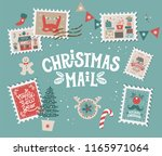 christmas mail set with... | Shutterstock .eps vector #1165971064