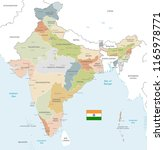 vector map of india with... | Shutterstock .eps vector #1165978771